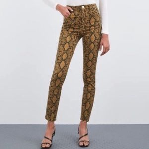 NWT Zara Mustard Python Hi Rise Skinny Ankle Jeans